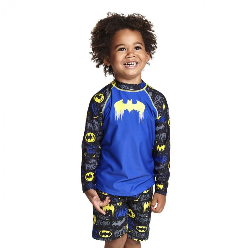 Zoggs 兒童蝙蝠俠長袖防曬上衣-藍/黑/黃