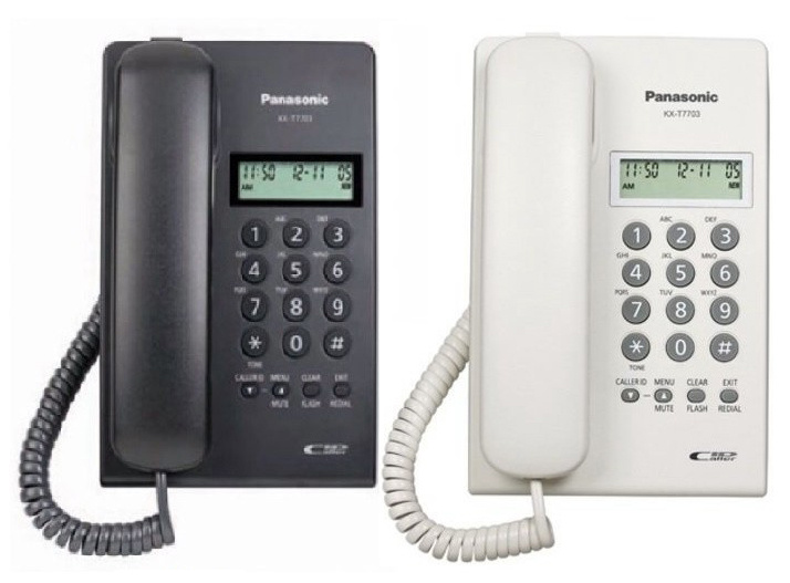 Panasonic - KX-T7703 來電顯示 室內有線電話 黑白2色可選 Single Line Caller ID Analogue Proprietary Corded Telephone Black White KX-T7703X