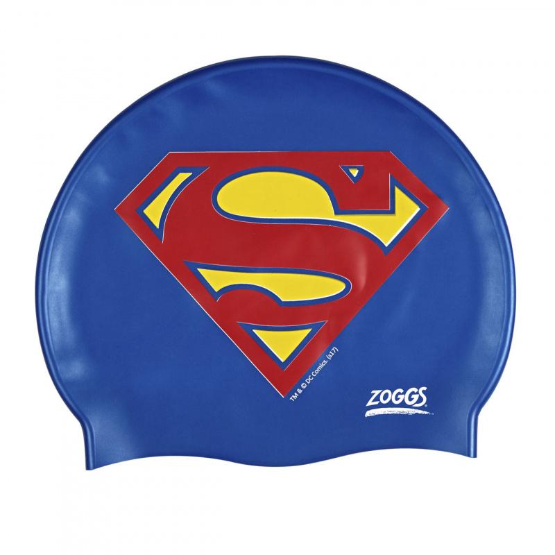 Zoggs 超人矽膠泳帽-藍/紅