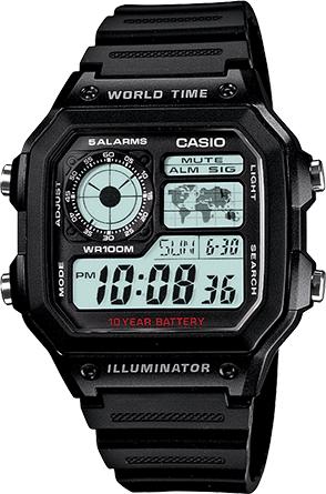 CASIO 10年電力電子錶 (AE-1200WH-1A)