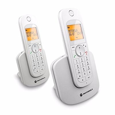 Motorola - 無線子母電話機 D1002 1.8Ghz DECT 來電顯示 免提 黄背光大屏幕 - 白色 White Cordless Phone D1002w VN