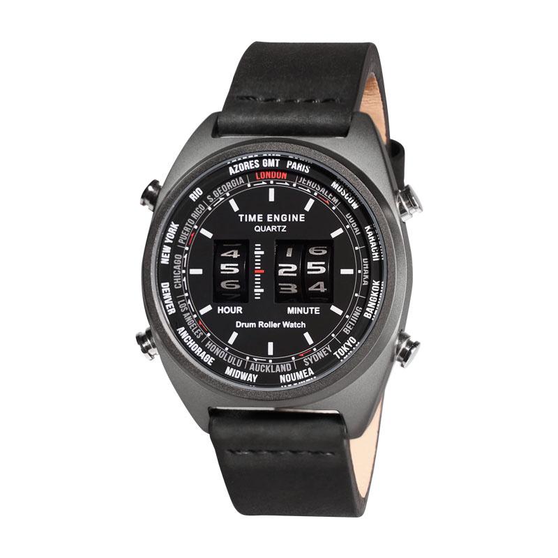 6060-03 Time Engine 全黑磨沙皮帶滾筒手錶