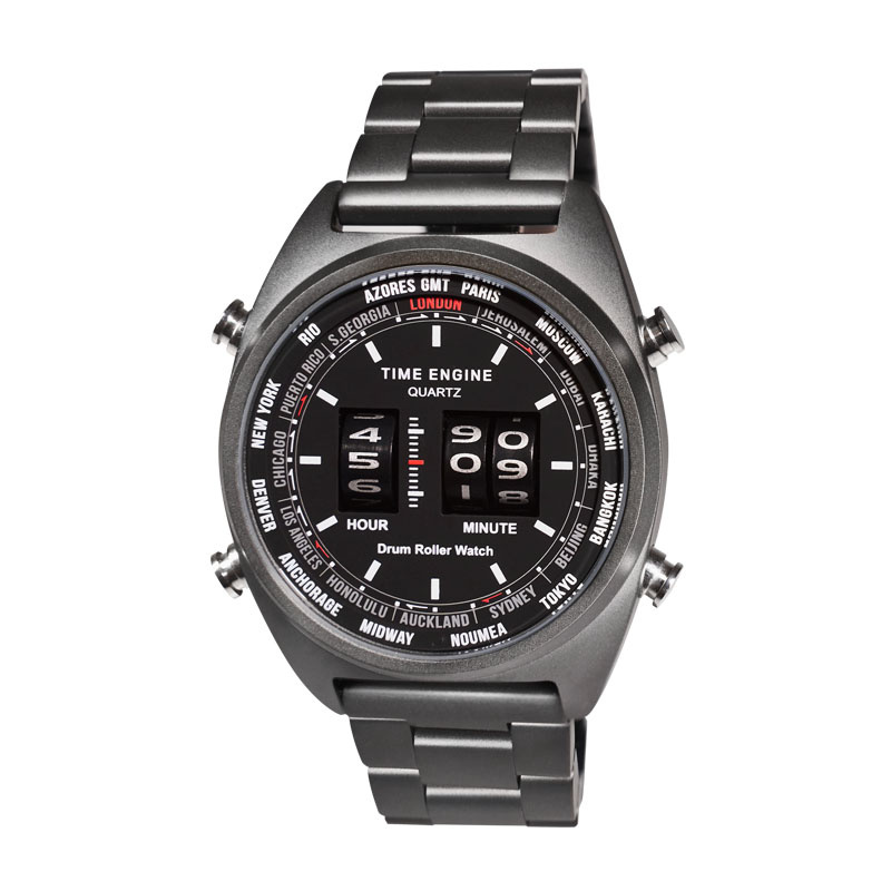 6060-04 Time Engine 全黑磨沙鋼帶滾筒手錶