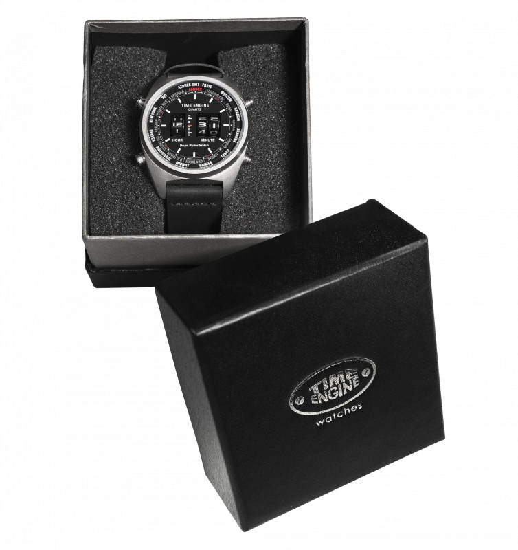6060-01 Time Engine 磨沙黑色皮帶滾筒手錶