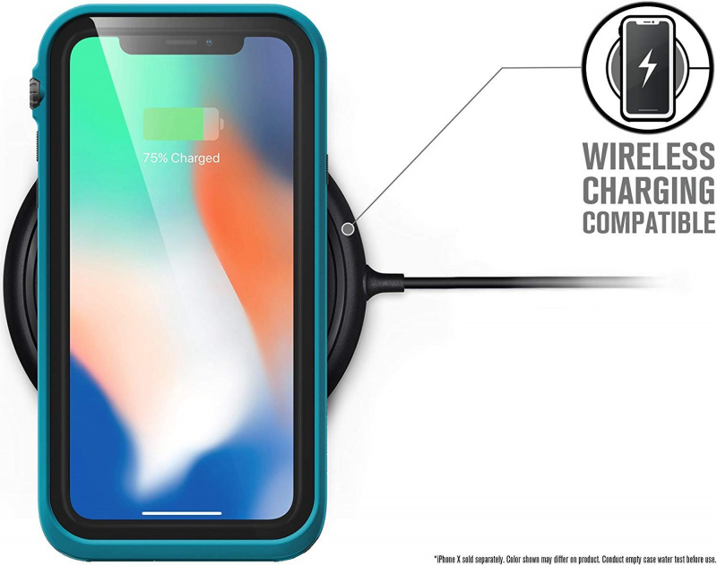 Catalyst Waterproof Case for iPhone X - Stealth Black/Glacier Blue