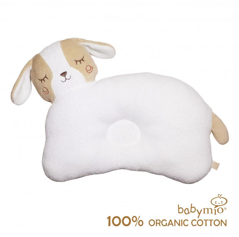 (Babymio)100%有機棉小狗造型凹型睡枕