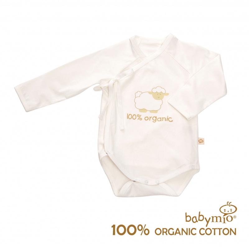 (Babymio)100%有機棉長袖綁帶連身衣