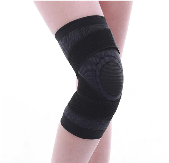 專業跑步繃帶式加壓針織護膝套 黑色 [一對]