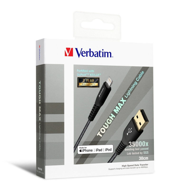 Verbatim - Tough Max Lightning充電傳輸線 30cm