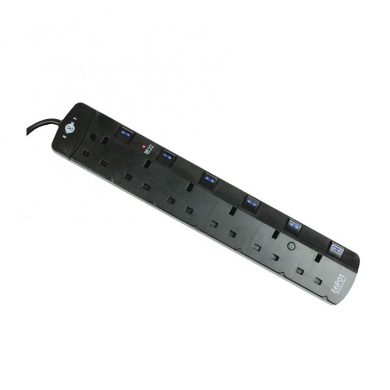 EIGHT - 6位13A 防雷拖板 - E6P01 (2色)