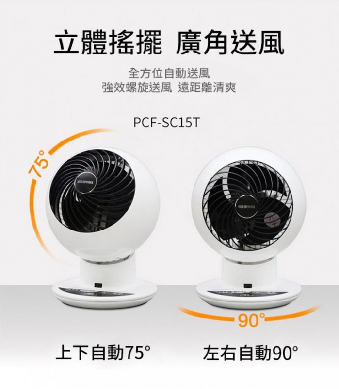 IRIS OHYAMA 全方位靜音循環風扇 PCF-SC15T