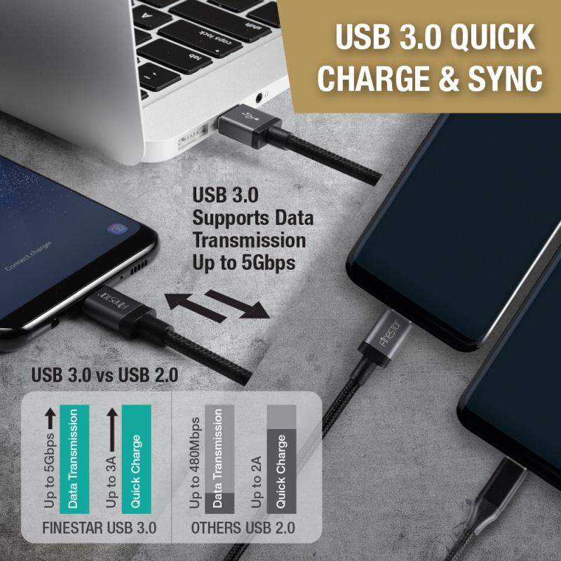 Finestar CC04 Type-C to USB A USB3.0數據傳輸充電線 1.2米 黑色