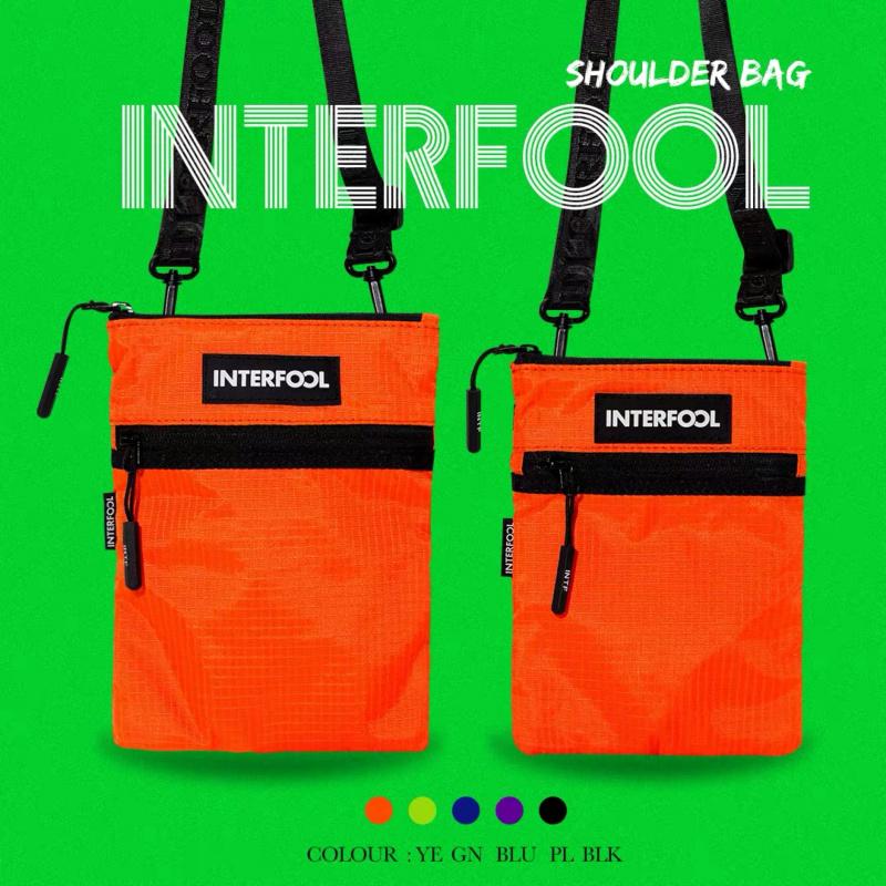 INTERFOOL原創品牌大容量螢光戶外尼龍防水大小號斜跨包