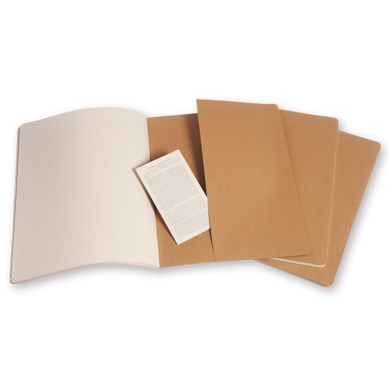 Moleskine CAHIER輕便記事本 隨記簿 空白/横間 /方格 XXL 21.6 x 28 CM 三本裝 [六款]