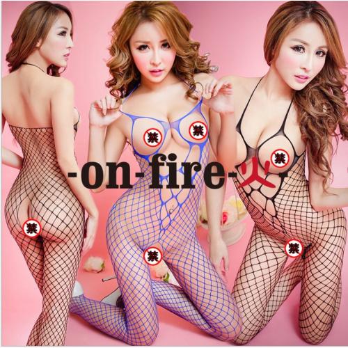 On Fire 情趣內衣性感魚網內衣內衣吊帶高彈力襪緊身連衣褲 (黑色&紫色共兩件) 2061