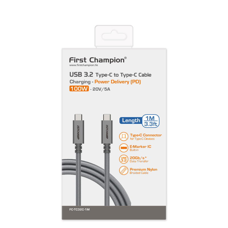 First Champion 45W旅行/家用充電器+快速充電數據線套裝 [多款]