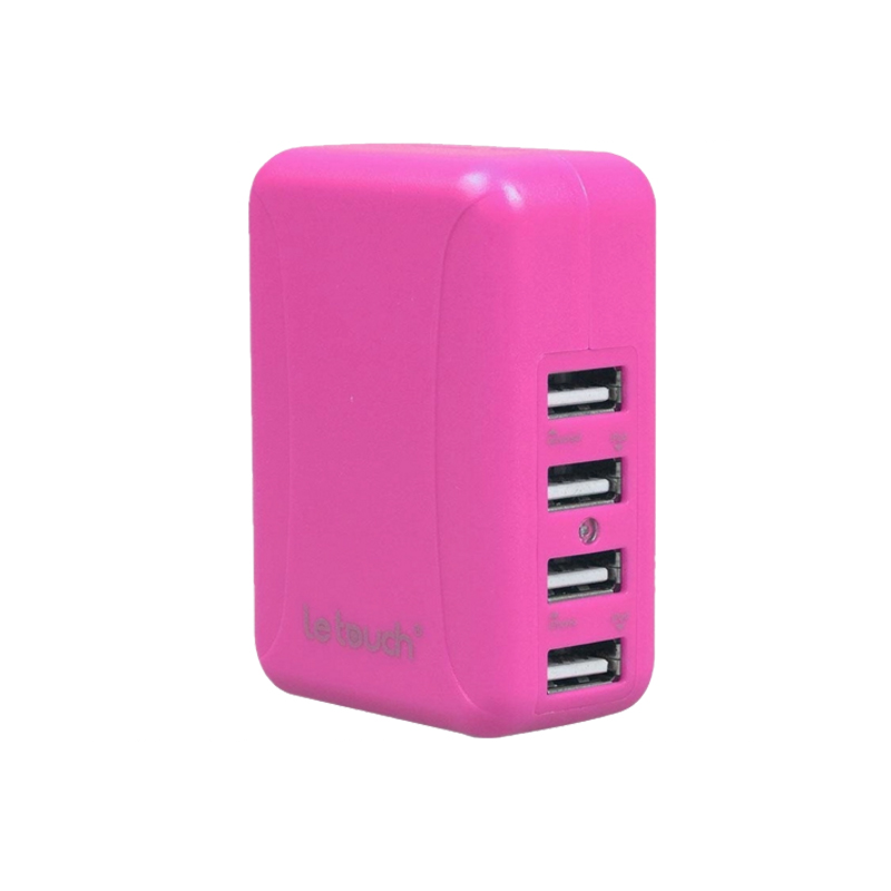 Le touch Power Bin 4.8A 4Usb Travel Charger C48 (粉紅)