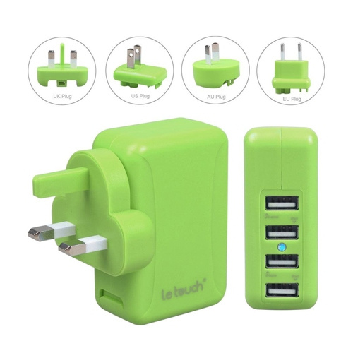 Le touch Power Bin 4.8A 4Usb Travel Charger C48 (綠)