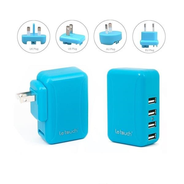 Le touch Power Bin 4.8A 4Usb Travel Charger C48 (藍)