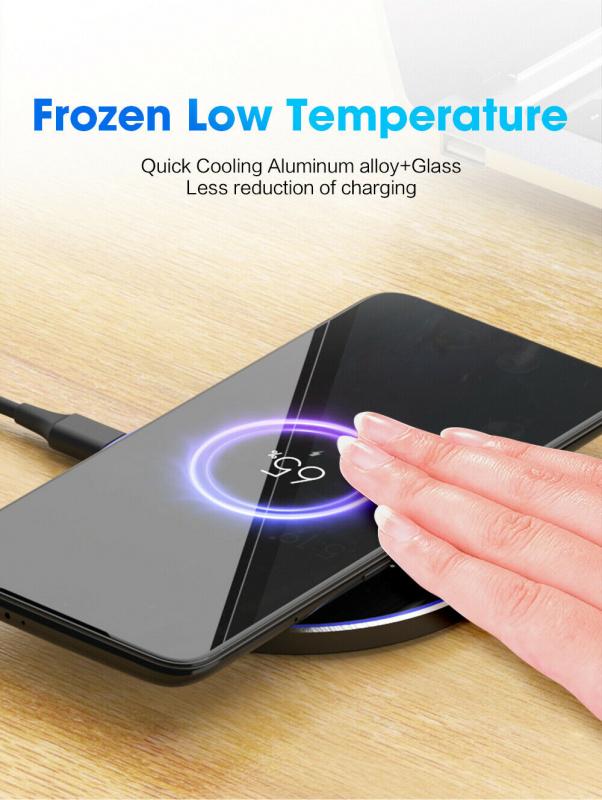 AOE - Qi無線充電器10W無線快充適用三星Samsung蘋果iPhone圓形鋁合金