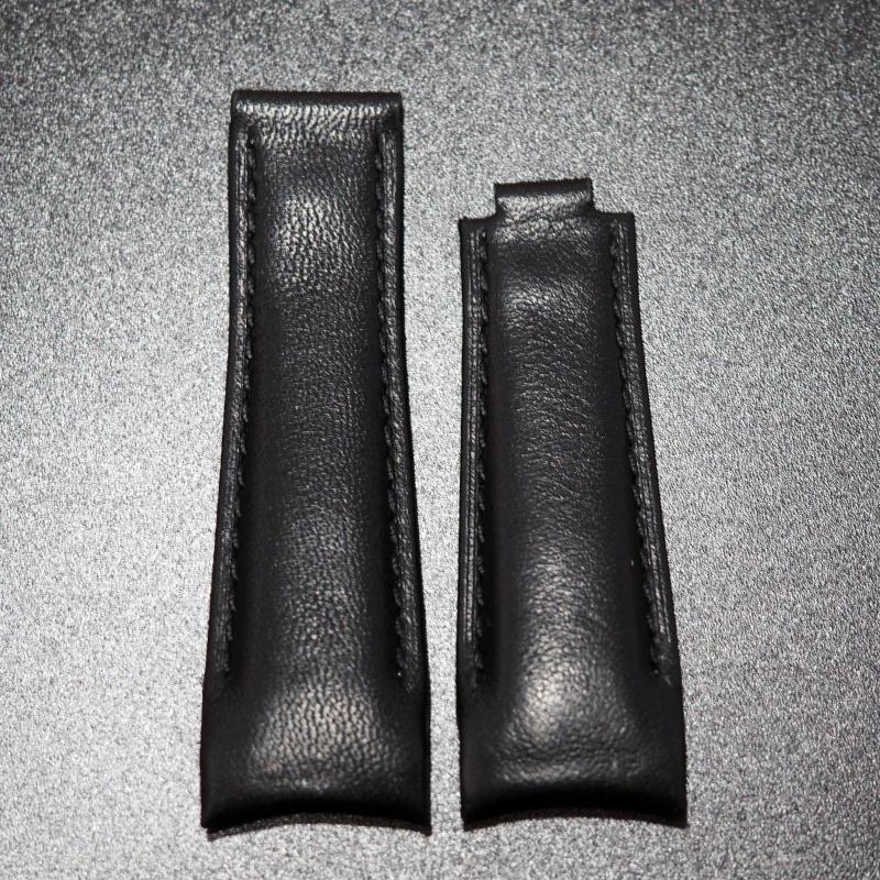 20mm 意大利黑色小牛皮Rolex專用錶帶配代用摺扣