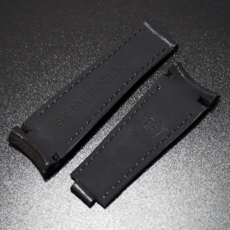 20mm 意大利黑色拼白車線小牛皮Rolex專用錶帶配代用摺扣