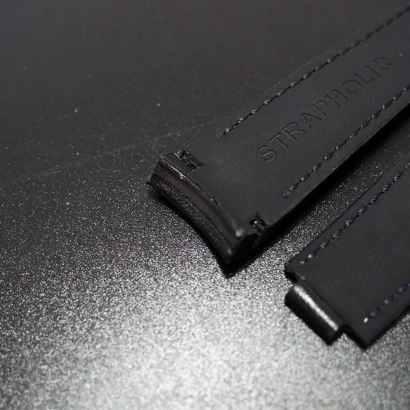 20mm 意大利黑色拼藍車線小牛皮Rolex專用錶帶配代用摺扣