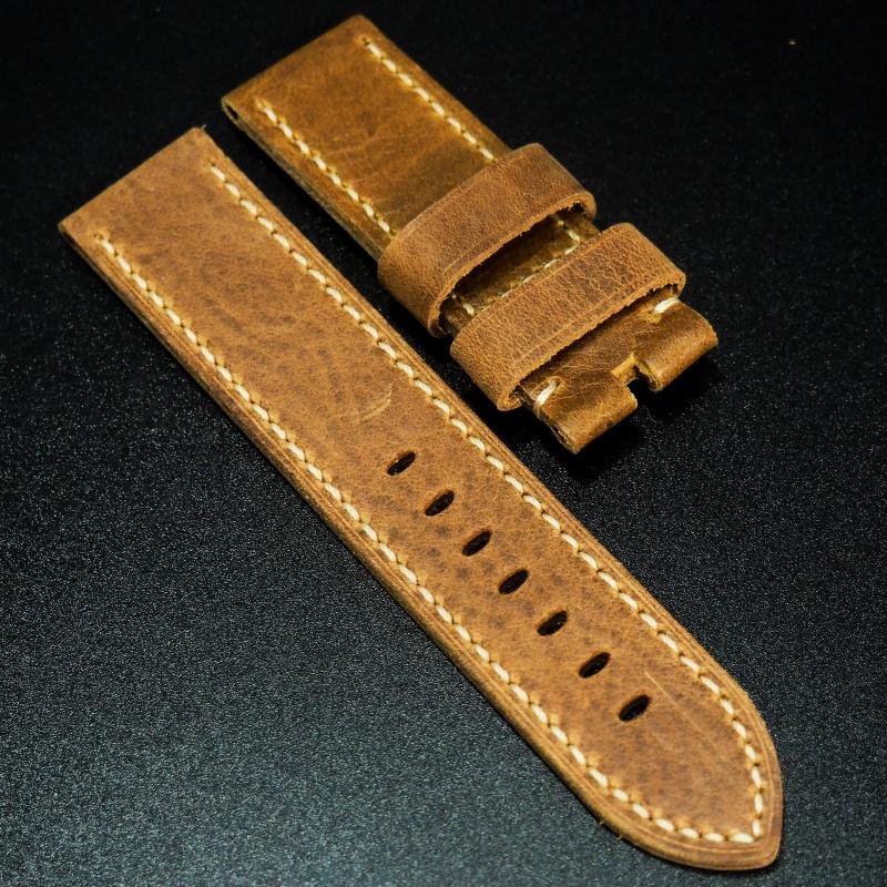 24mm Panerai 棕色高級牛皮錶帶配針扣