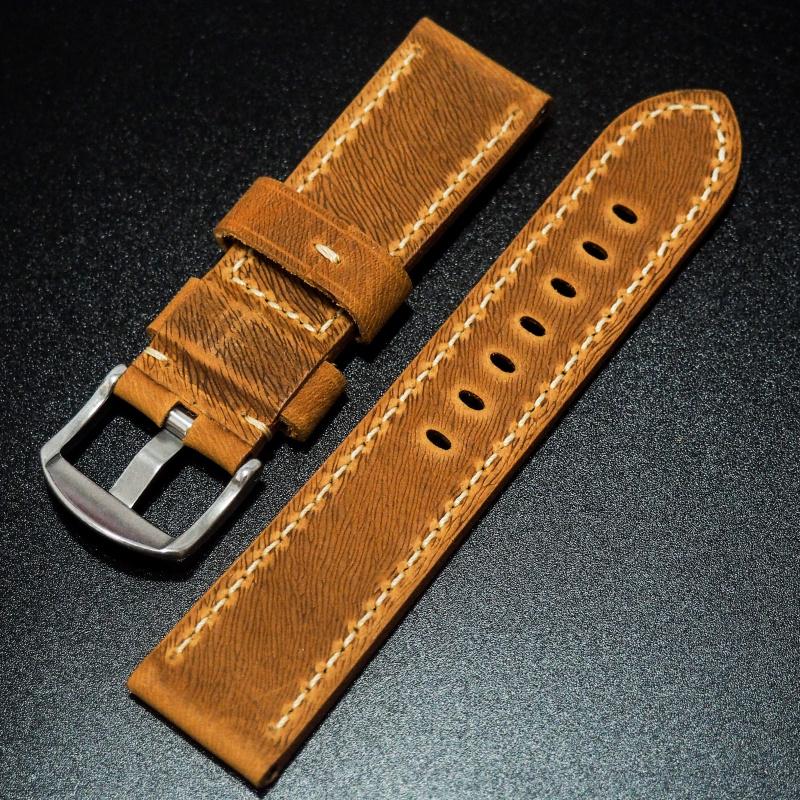 24mm Panerai 橙色高級牛皮錶帶配針扣