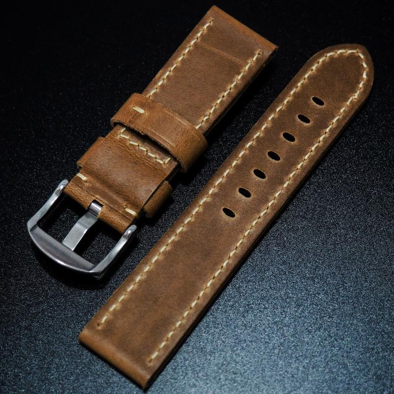 24mm Panerai 啡色高級牛皮錶帶配針扣
