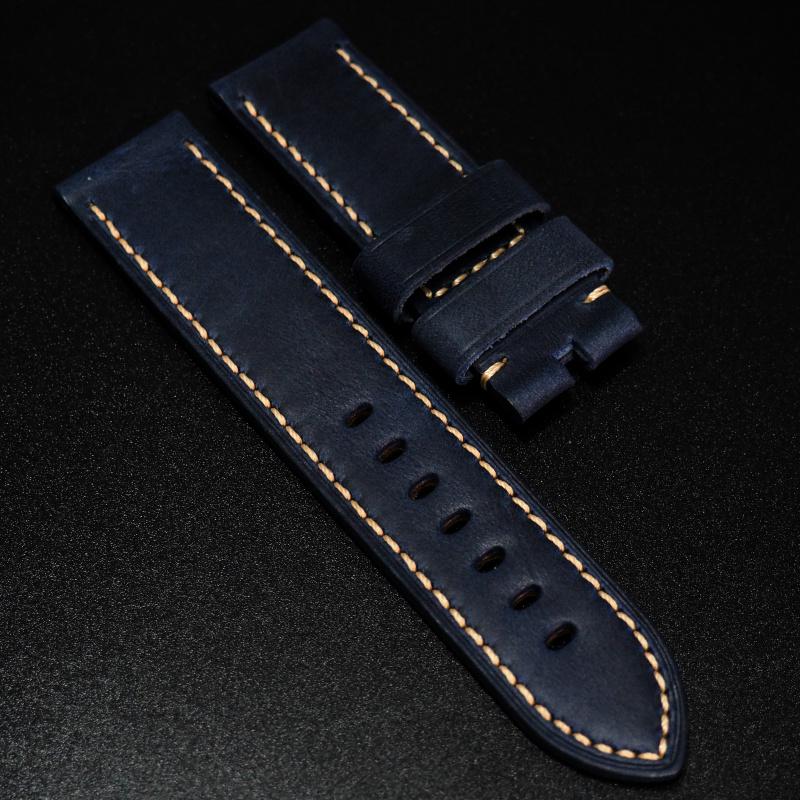 24mm Panerai 藍色高級牛皮錶帶配針扣