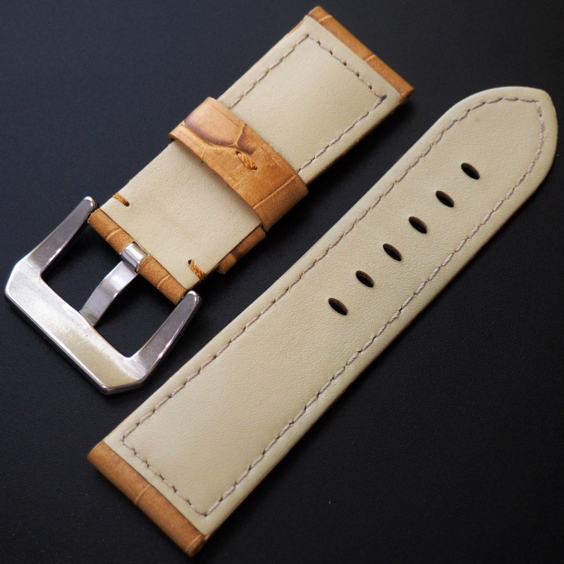 24mm Panerai Style 蜜糖橙鱷魚紋牛皮錶帶 (女裝尺寸)