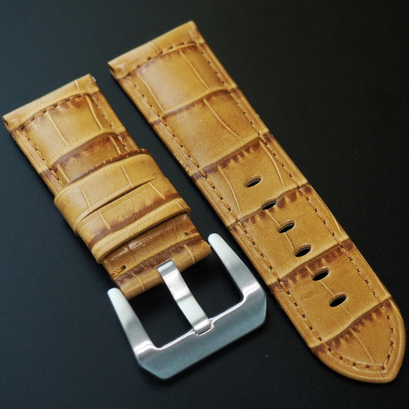 24mm Panerai Style 蜜糖橙鱷魚紋牛皮錶帶 (女裝短帶)
