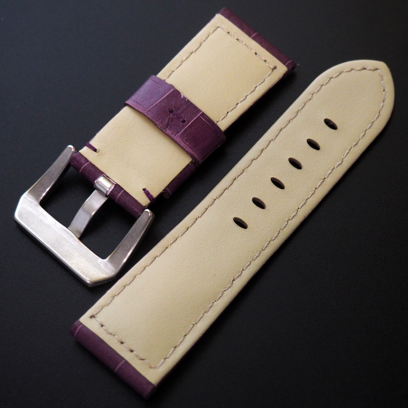 24mm Panerai Style 紫色鱷魚紋牛皮錶帶 (女裝短帶)