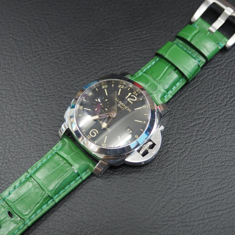 24mm Panerai Style 綠色鱷魚紋牛皮錶帶 (女裝短帶)