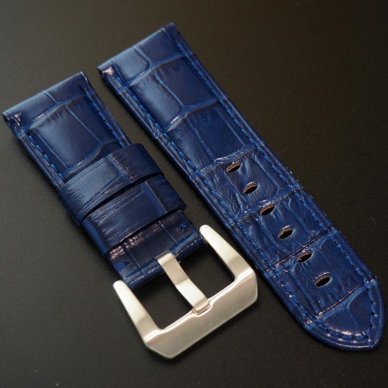 24mm Panerai Style 藍色鱷魚紋牛皮錶帶 (女裝短帶)