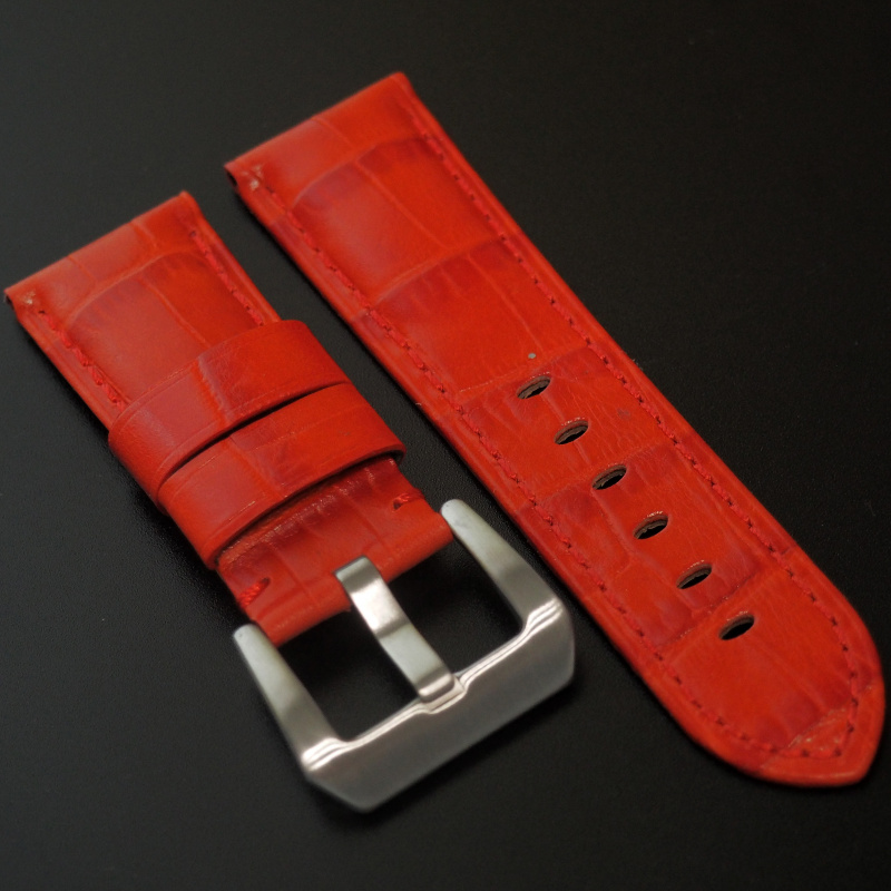 24mm Panerai Style 紅色鱷魚紋牛皮錶帶 (女裝短帶)