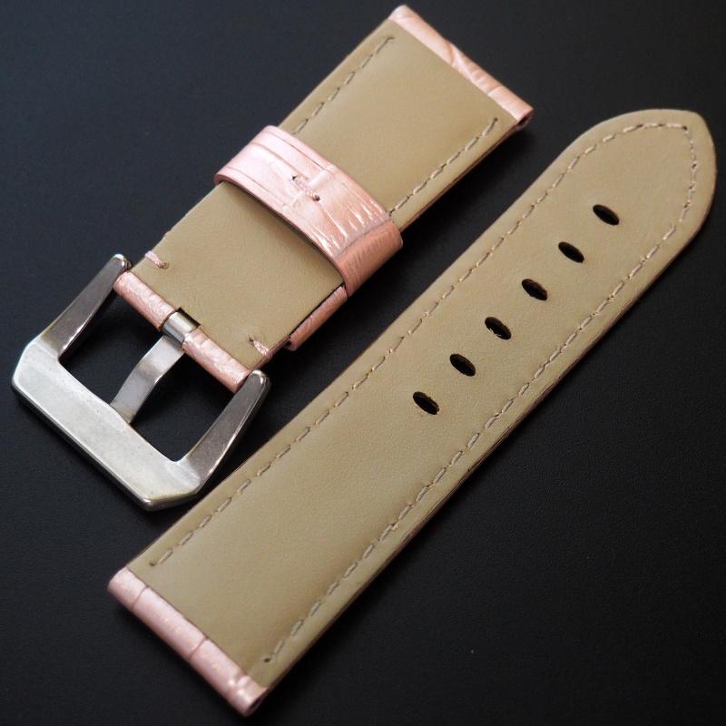 24mm Panerai Style 粉紅色鱷魚紋牛皮錶帶 (女裝短帶)