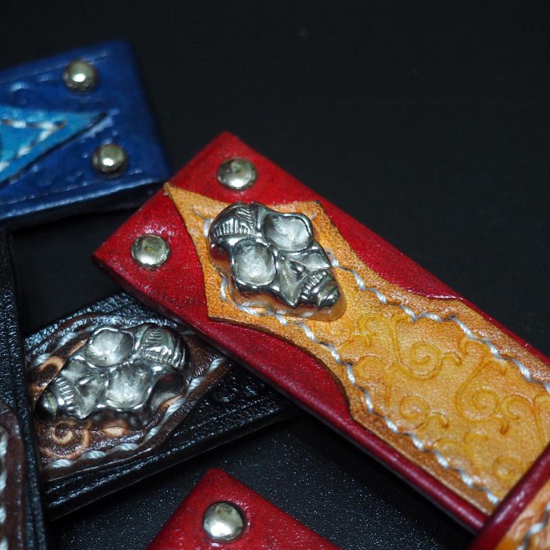 24mm 橙/紅拼色經典骷髏牛皮手工錶帶配針扣