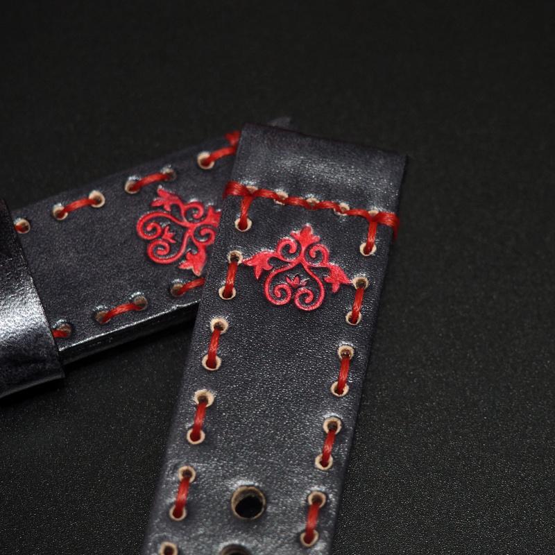 24mm 黑色經典印花牛皮手工錶帶配針扣