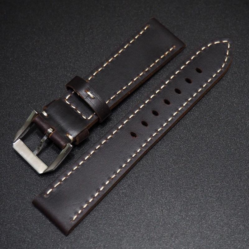 20mm 深紫色牛皮錶帶配針扣