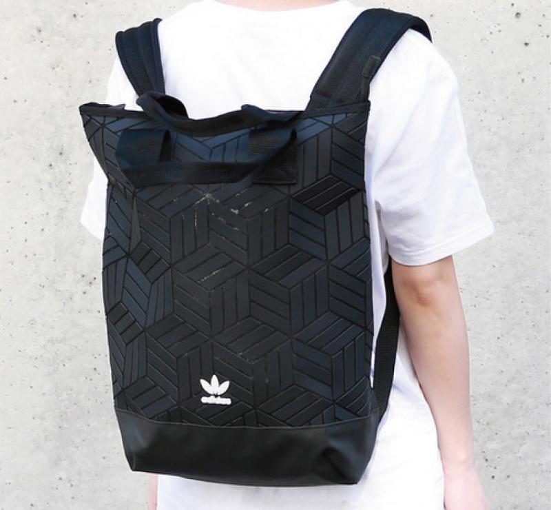 日本Adidas Originals 3D幾何圖案背囊 [黑色]
