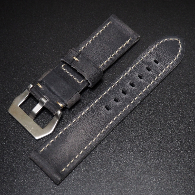 24mm Panerai 藍色牛皮錶帶配針扣
