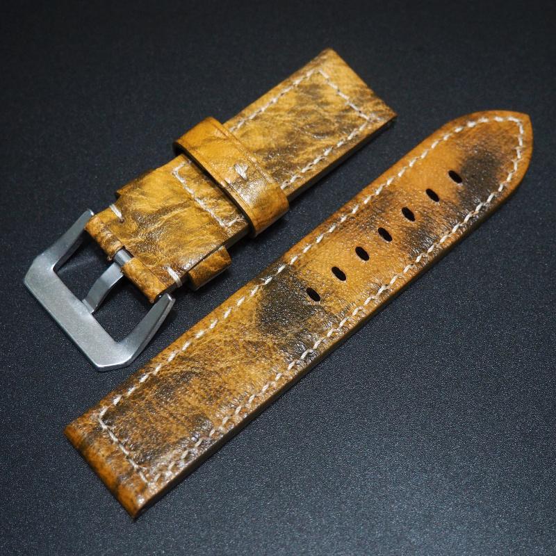 24mm Panerai 黃色牛皮錶帶配針扣