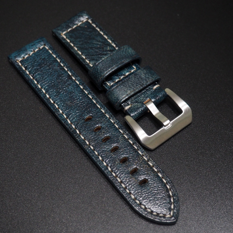 24mm Panerai 埃及藍色牛皮錶帶配針扣