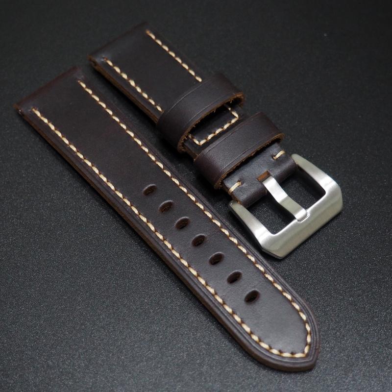 24mm 深紫色牛皮錶帶配針扣 合適 Panerai
