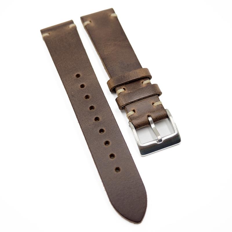 18mm, 20mm, 22mm 優質啡色 Horween 牛皮復古錶帶