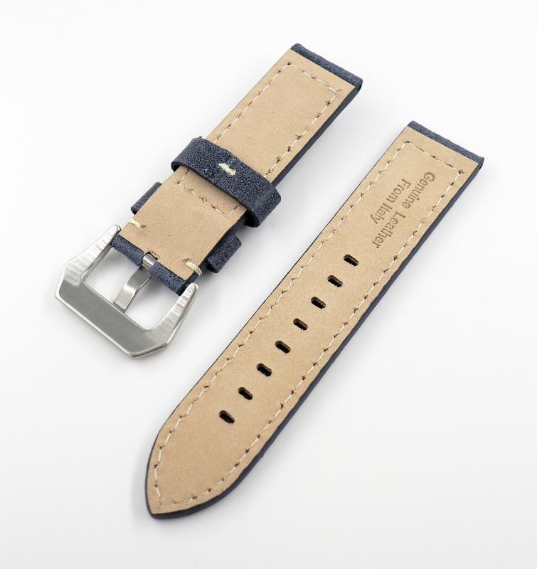 22/24mm 深藍色牛皮錶帶配針扣