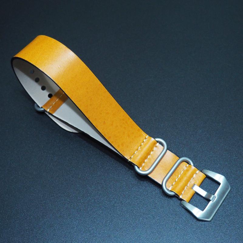 24mm Nato Style黃色牛皮錶帶配針扣