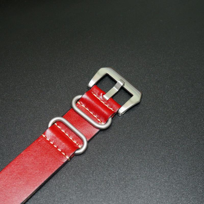 24mm Nato Style 紅色牛皮錶帶配針扣